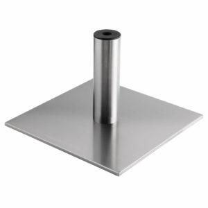 Kiela Quadratfuß aus Edelstahl  50 cm mit Befestigungsplatte und Stativ aus Edelstahl